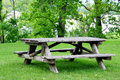 Empty Picnic Table In Park Stock Image - 6157941