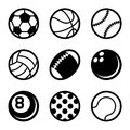 Sports Balls Icons Set On White Background. Vector Stock Image - 61501931