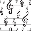 Seamless Black Treble Clef Stock Photography - 61501982