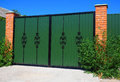 Clouse Up Green Metal Profil Gate With Decorative Gate And Door In Old Stiletto Style Stock Photos - 61502193