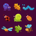 Cute Insects And Leaves With Emotions. Vector Royalty Free Stock Images - 61503729