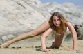 Attractive Model With Bikini On The Sand In Number Of Interesting Poses Royalty Free Stock Photo - 61515995