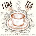 Hand Drawn A Cup With Tea Elements Stock Image - 61523931