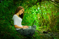Beautiful Young Girl Using Laptop Outdoors In The Stock Images - 61526864