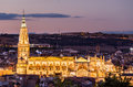Evening View Of Toledo Cathedral In Spain Stock Photography - 61530362
