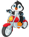 Penguin Motorcyclist Royalty Free Stock Image - 61537706