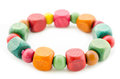 Colorful Wooden Beads Bracelet. Stock Photo - 61537870