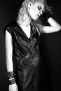 Daring Girl Model In Black Leather Dress, Style Of Stock Photos - 61548233