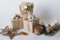 Christmas Gift Boxes With Flowers And Decorative Objects Eco Cotton, Cinnamon, Spruce Branches And Jute Rope Hank Over White Backg Royalty Free Stock Photography - 61556387