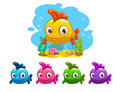 Funny Cartoon Yellow Baby Fish Royalty Free Stock Photography - 61556437