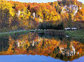 Autumn Landscape. Beautiful Autumn Forest Reflection In The Water. Ojcowski National Park. Poland. Royalty Free Stock Images - 61556619