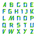 Ecology English Alphabet Letters Green And Blue Stock Images - 61561404