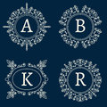 Vector Monogram With Floral Ornament Royalty Free Stock Image - 61580616