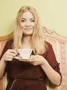 Woman Drinking Hot Coffee Beverage. Caffeine. Stock Images - 61584044