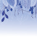 Leaves In The Frost  Winter Background Stock Images - 61588424