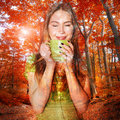 Beautiful Woman Drinking Coffee And Dreaming Stock Image - 61590871