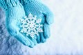 Female Hands In Light Teal Knitted Mittens With Sparkling Wonderful Snowflake On A White Snow Background. Winter Christmas Concept Royalty Free Stock Image - 61592466