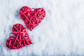 Two Beautiful Romantic Vintage Red Hearts Together On A White Snow Background. Love And St. Valentines Day Concept. Stock Photography - 61593052