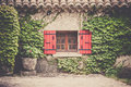 House Facade With Window In Southern France Stock Photo - 61600910