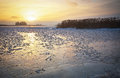 Beautiful Winter Landscape With Frozen Lake And Sunset Sky. Royalty Free Stock Images - 61601309