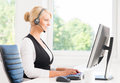 Beautiful Woman In Headset Working In Call Center Royalty Free Stock Photo - 61601885