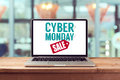 Cyber Monday Sign On Laptop Computer. Holiday Online Shopping Concept. View From Above Stock Photo - 61606290