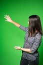 TV Weather News Reporter At Work.News Anchor Presenting The World Weather Report.Television Presenter Recording In A Green Screen Stock Images - 61625734