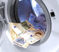 Money Laundering Illegal Cash Euros And Pounds Stock Photo - 61633840