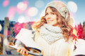 Beautiful Caucasian Woman Going To Ice Skating Outdoor Stock Image - 61635091