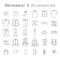 Men Fashion Clothes And Accessories Flat Line Vector Icons Royalty Free Stock Photo - 61635605
