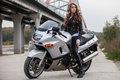 Woman On Motorcycle Stock Images - 61638794