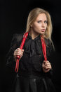 Girl With Red Leather Whip Royalty Free Stock Photo - 61640715