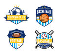 Set Of Sport Team Logo For Four Sport Disciplines Royalty Free Stock Photography - 61642667