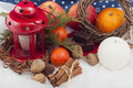 Christmas Red Candle With Stars Stock Photo - 61644960