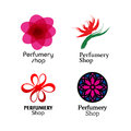 Red, Green And Purple Perfumery Brand Logos Set Stock Images - 61647874