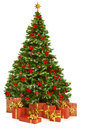 Christmas Tree And Presents Gifts, Xmas Tree Toys On White Royalty Free Stock Image - 61648606