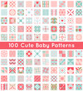 100 Cute Baby Seamless Pattern. Retro Pink, White Stock Photos - 61662363