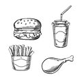 Burger, French Fries, Chicken Leg And Soda Cup Stock Images - 61665474