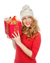 Happy Young Woman Hold Red Christmas Wrapped Gift Present Smilin Royalty Free Stock Photos - 61676108