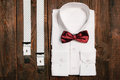 Shirt, Casual Suspenders And Marsala Bowtie. Top View Royalty Free Stock Photo - 61678155