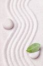 Zen Garden With A Wave Lines In The Sand With A Relaxing White Stone Stock Image - 61683991