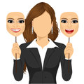 Faceless Woman Holding Happy And Angry Mask Stock Image - 61685701
