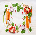Fresh Vegetables Ingredients For Cooking , Composing On White Wooden Background, Top View, Frame. Healthy  Food Stock Photos - 61686823