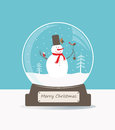 Glass Ball With Snowman And Birds. Stock Images - 61701644
