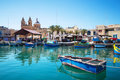 Marsaxlokk Market With Traditional Colorful Fishing Boats, Malta Royalty Free Stock Photos - 61717868