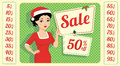 Brunette And Christmas Sale Royalty Free Stock Photos - 61726168