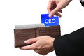 Businessman Hands Paying Folder CEO Concept On Brown Wallet. Stock Photos - 61731023