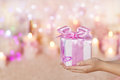 Gift Boxes Holding On Hands, Giving Pink Present, Girl Woman Stock Photos - 61745993