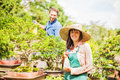 Young Gardeners With Bonsai Stock Image - 61747081