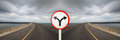 Fork Junction Sign With Crossroads Spliting In Two Way Stock Images - 61757284